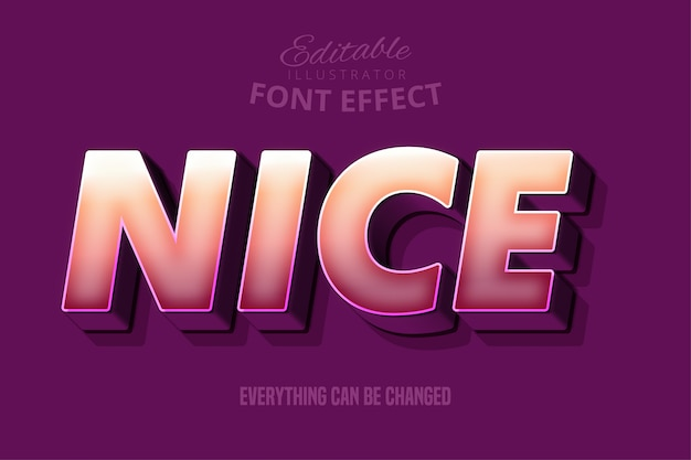 Fuerte efecto de fuente en negrita 3d, plantilla de estilo de texto de dibujos animados