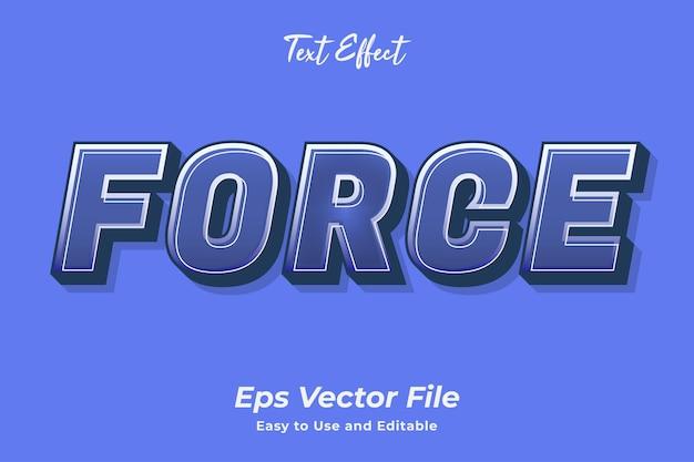 Fuerza de efecto de texto editable y fácil de usar vector premium