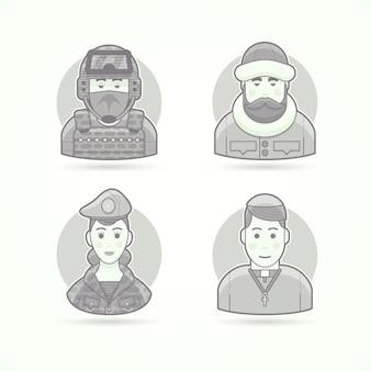 Fuerzas especiales hombre, explorador polar, mujer soldado, sacerdote de iglesia. conjunto de ilustraciones de personajes, avatar y persona. estilo esbozado en blanco y negro.
