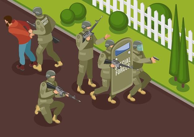 Fuerzas especiales militares durante la lucha contra la composición isométrica de terroristas con detención de ilustración vectorial criminal