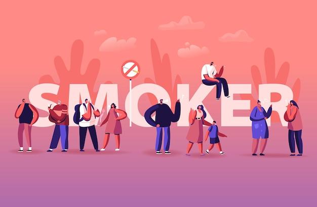 Fumador y concepto de adicción al tabaquismo. ilustración plana de dibujos animados