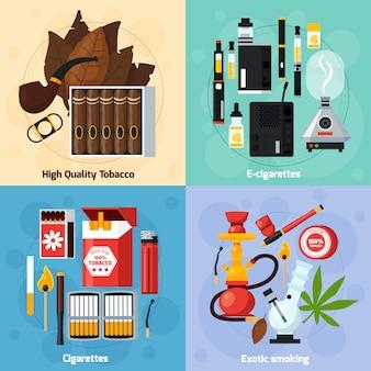 Fumar 2x2 concepto de diseño plano