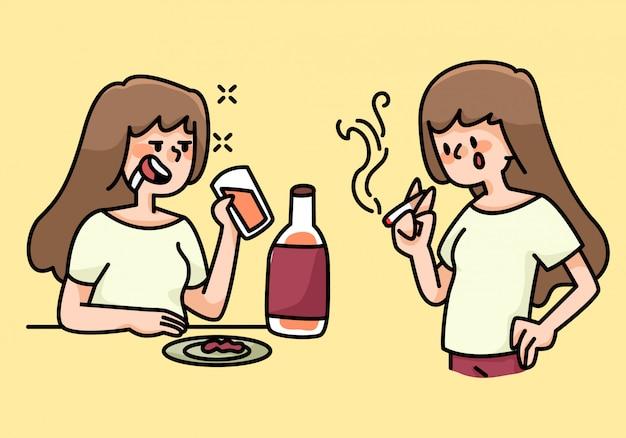 Fumar y beber ilustración de dibujos animados de hábitos de mujer