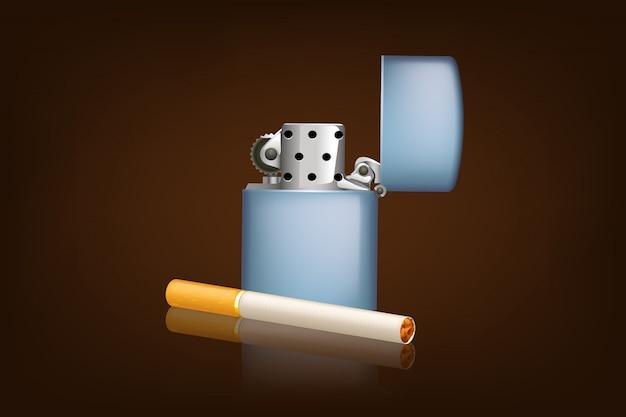 Fumar cigarrillo y zippo