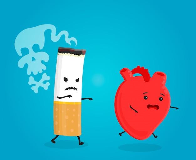 Fumar mata el corazón. deja de fumar . el cigarrillo mata. ilustración de personaje de dibujos animados plana