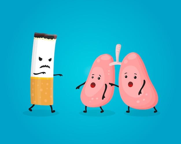 Fumar mata los pulmones. deje de fumar, comcept. el cigarrillo mata. ilustración de personaje de dibujos animados plana