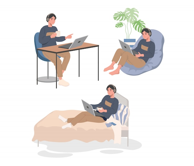Funciona con laptop en la cama, sillón y en la mesa.