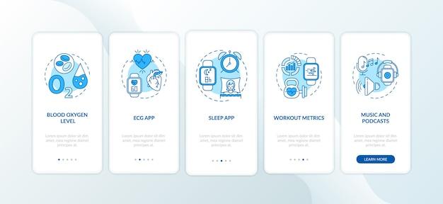 Funciones de reloj inteligente que incorporan la pantalla de la página de la aplicación móvil con conceptos