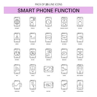 Funciones de teléfono inteligente conjunto de iconos de línea - 25 estilo de esquema discontinuo