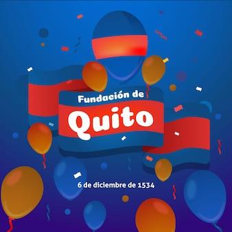 Fundación de quito con bandera roja y azul