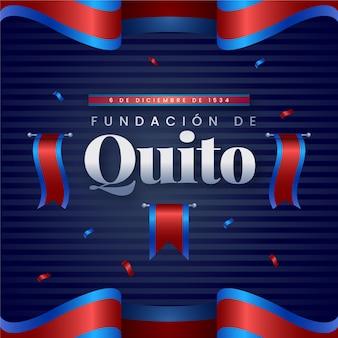 Fundación de quito con ilustración de bandera roja y azul