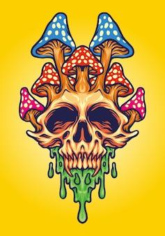 Fungus skull psychedelic melt ilustraciones vectoriales para su trabajo logotipo, camiseta de mercancía de mascota, pegatinas y diseños de etiquetas, carteles, tarjetas de felicitación, publicidad de empresas comerciales o marcas.