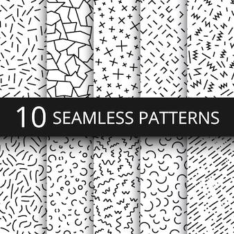 Funky memphis vector patrones sin fisuras. fondos de texturas en blanco y negro de moda escolar de los 80 y 90 con formas geométricas simples