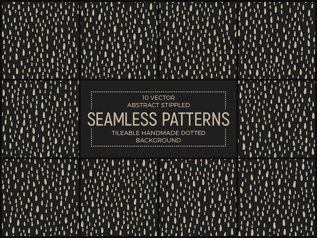 Funky stippled retro seamless patterns vector set