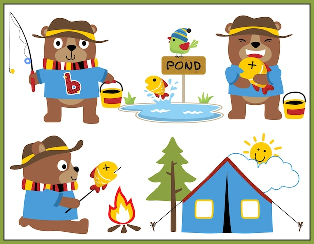 Funny bear cartoon vector set collection