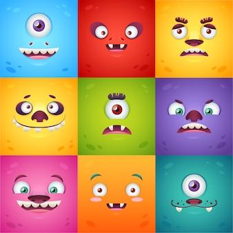 Funny caricatura cuadrados monstruos conjunto de tarjetas