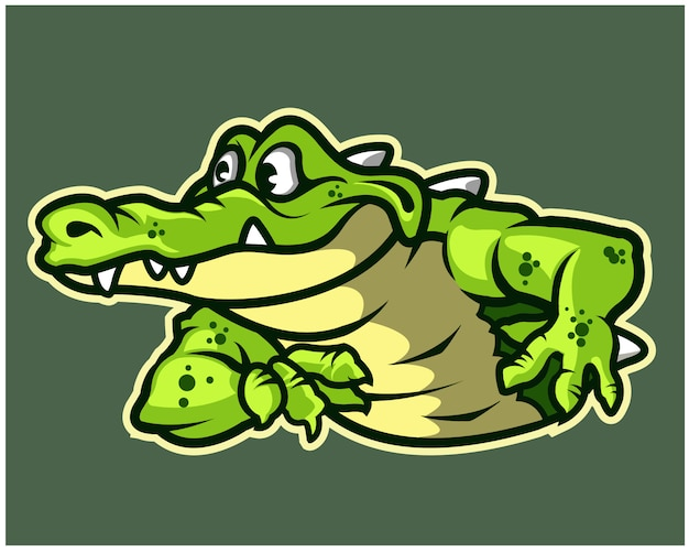 Funny gator cartoon mascot