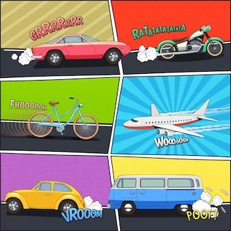 Furgoneta y aeroplano de motocicleta de coche en movimiento en cuadros cómicos