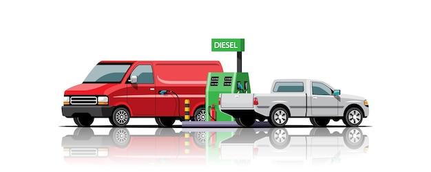 Furgoneta y aparcamiento de recogida para repostar en la estación de combustible diésel