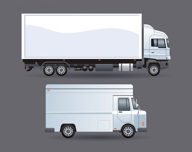 Furgoneta blanca y camión