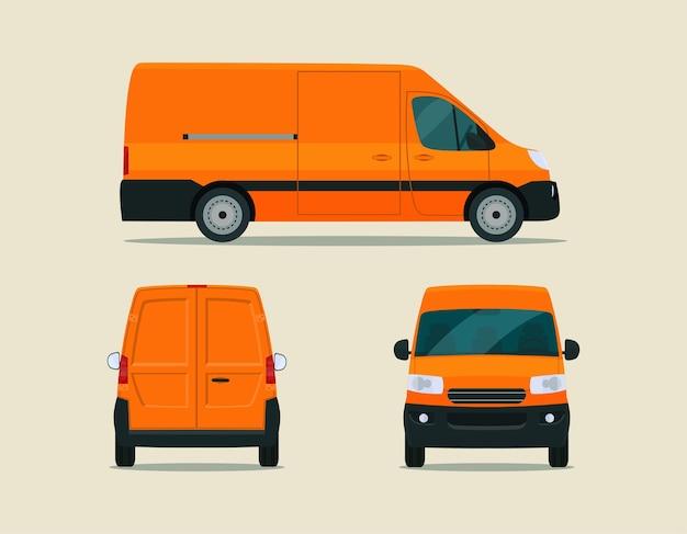 Furgoneta de carga aislada. van con vista lateral, vista trasera y vista frontal. ilustración de estilo plano.