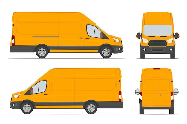 Furgoneta de carga amarilla para entrega de mercancías en diferentes vistas lateral, posterior, frontal.
