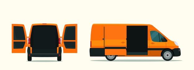 Furgoneta de carga con vista lateral y ilustración de estilo plano de vista posterior