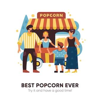 Furgoneta de palomitas de maíz con vendedores compradores y símbolos familiares ilustración vectorial plana