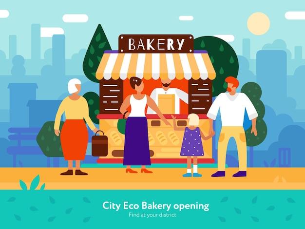 Furgoneta de panadería con vendedores compradores y símbolos familiares planos.