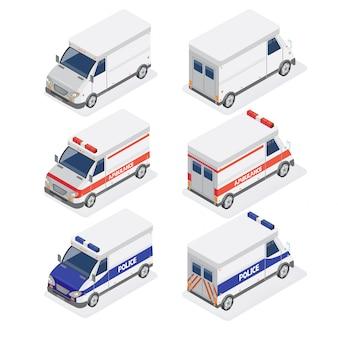 Furgonetas isométricas con ambulancia y coche de policía