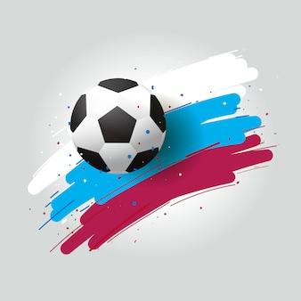 Fútbol 2018, balón de fútbol y pincel de fondo de tinta tricolor. ilustración vectorial