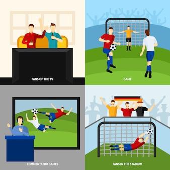 Fútbol 4 iconos planos composición cuadrada
