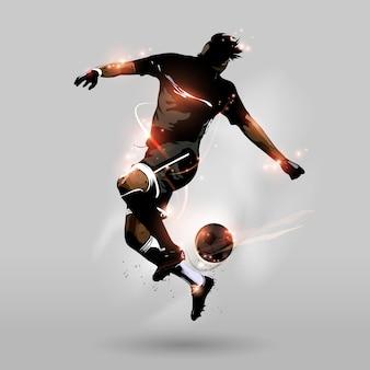Fútbol abstracto que salta la bola del tacto