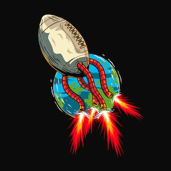 Fútbol americano deporte cuero cometa fuego cola volando logo ilustración