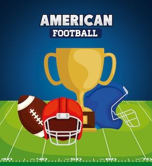 Fútbol americano con ilustración de trofeo