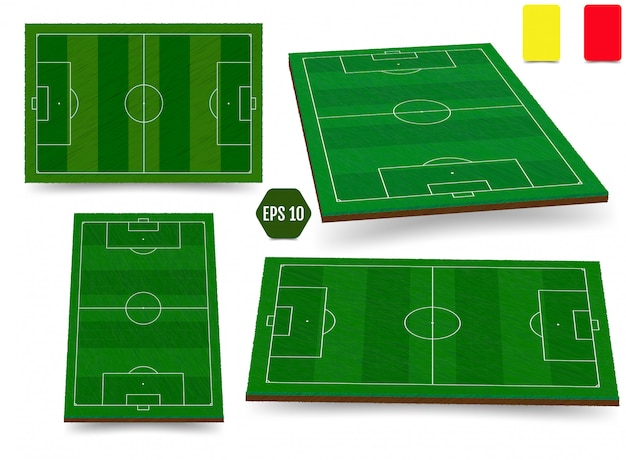 Fútbol, campo de fútbol europeo en vista superior diferentes ángulos poi