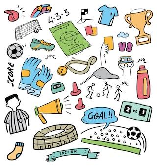 Fútbol doodle conjunto ilustración vectorial