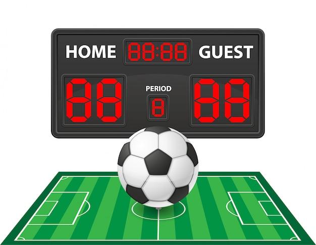 Fútbol fútbol deportes marcador digital vector ilustración