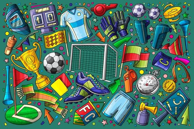 Fútbol, fútbol doodle conjunto ilustración vectorial