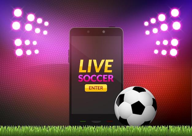 Fútbol de fútbol móvil. partido de deporte móvil. juego de fútbol en línea con aplicación móvil en vivo.