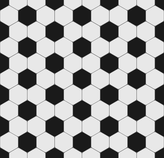 Fútbol o pelota de fútbol deporte textura fluida. patrón blanco y negro con hexágono para folleto, póster, sitio web. antecedentes