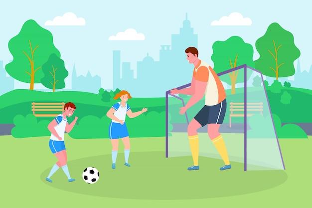 Fútbol en el parque, deporte ilustración familiar. hijo, hija y padre personaje con pelota juegan fútbol juntos.