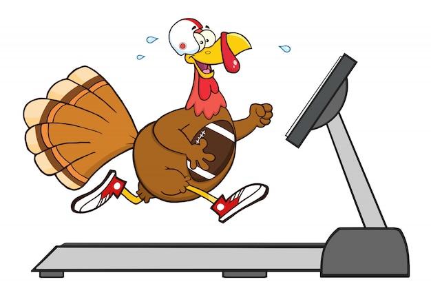 Fútbol pavo pájaro personaje de dibujos animados corriendo en una cinta rodante