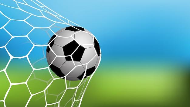 Fútbol realista en red con copia espacio para texto.