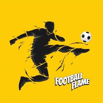 Fútbol soccer fly kick silueta