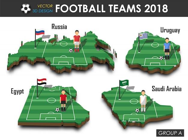 Futbolista y bandera en el mapa del país del diseño 3d.