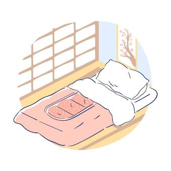 Futón japonés con imagen en marco
