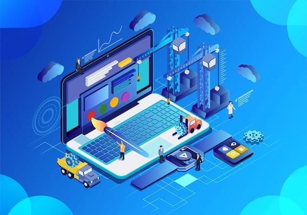 Futura ciencia y tecnología oficina inteligente