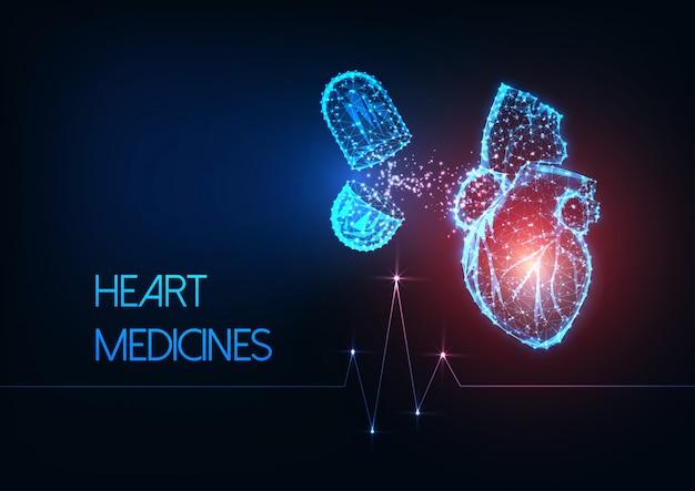 Futurista brillante bajo corazón poligonal humano y cápsula píldoras medicamentos sobre fondo azul oscuro.