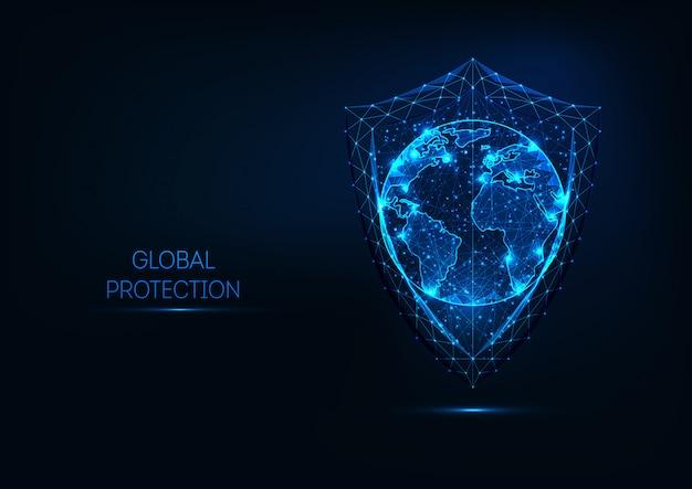 Futurista brillante bajo escudo poligonal y planeta tierra globo mapa aislado sobre fondo azul oscuro.